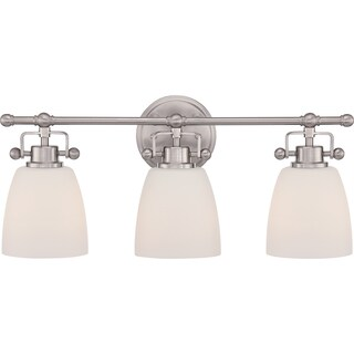 Quoizel 'Bower' 3-light Brushed Nickel Bath Vanity