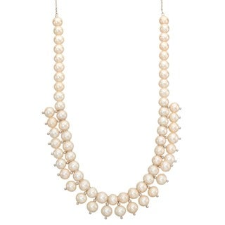 Sterling Silver Freshwater Pearl Bead Tiny Bib Necklace (7 mm)