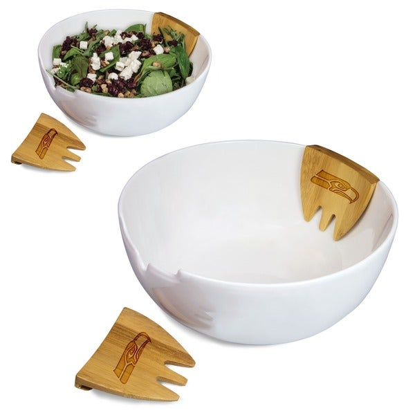 Romano Laser Engraved Salad Bowl with Bamboo Servers - NFL