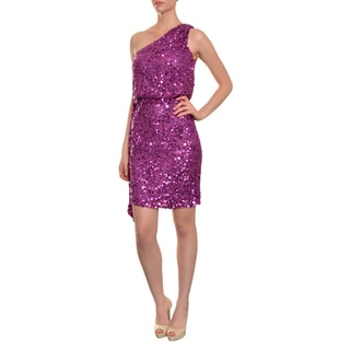 Aidan Mattox Women's Fuschia Sequin One-shoulder Cocktail Evening Dress