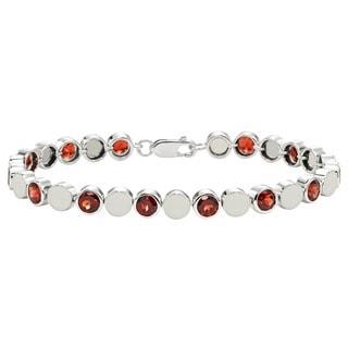 Sterling Silver Garnet Beaded Bezel Bracelet
