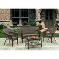 W Unlimited Brown Wicker 4-piece Outdoor Furniture Set