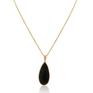 Gioelli Sterling Silver Gold Plated Smokey Quartz Pendant Chain Necklace