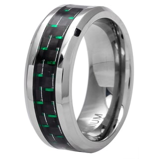 Oliveti Men's Black/ Green Plated Titanium Carbon Fiber Comfort Fit Band (8 mm)