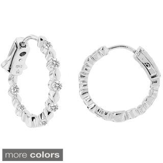 Gioelli Sterling Silver 925 Round-cut Clear Cubic Zirconia Hoop Earrings