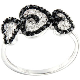 Pearlz Ocean 1/3ct TDW Black and White Diamond Hearts Ring (H-I, SI1-SI2)