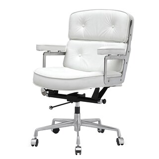 Cinque White Italian Leather Office Chair
