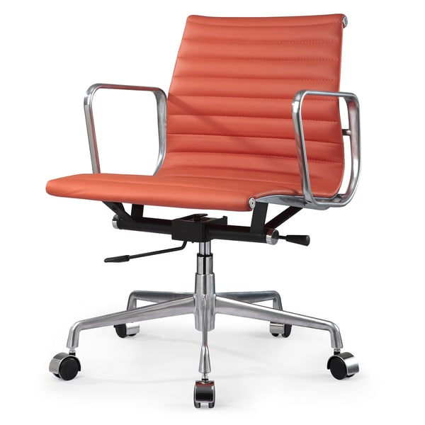 Quattro Orange Italian Leather Modern Office Chair