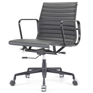 Quattro All Black Italian Leather Modern Office Chair