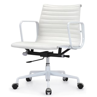 Quattro All White Italian Leather Modern Office Chair
