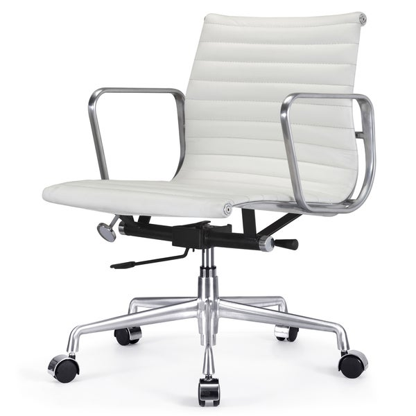 quattro white italian leather modern office chair