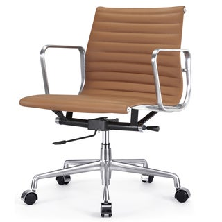 Quattro Brown Italian Leather Modern Office Chair