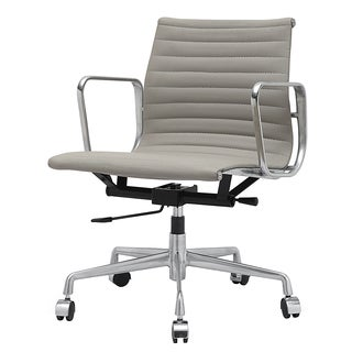 Quattro Grey Italian Leather Modern Office Chair