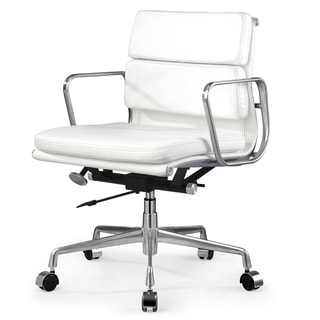 Tre White Italian Leather Office Chair