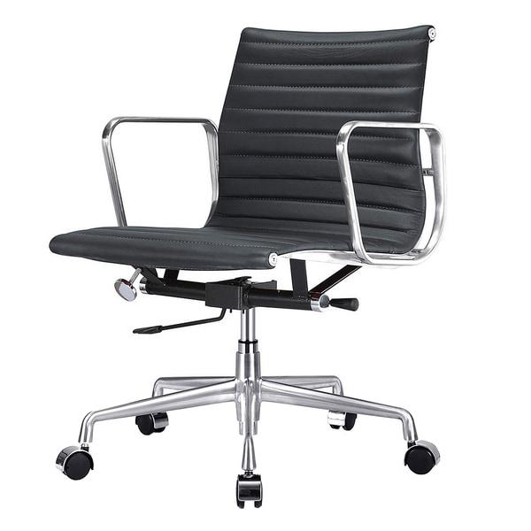 Quattro Black Italian Leather Modern Office Chair