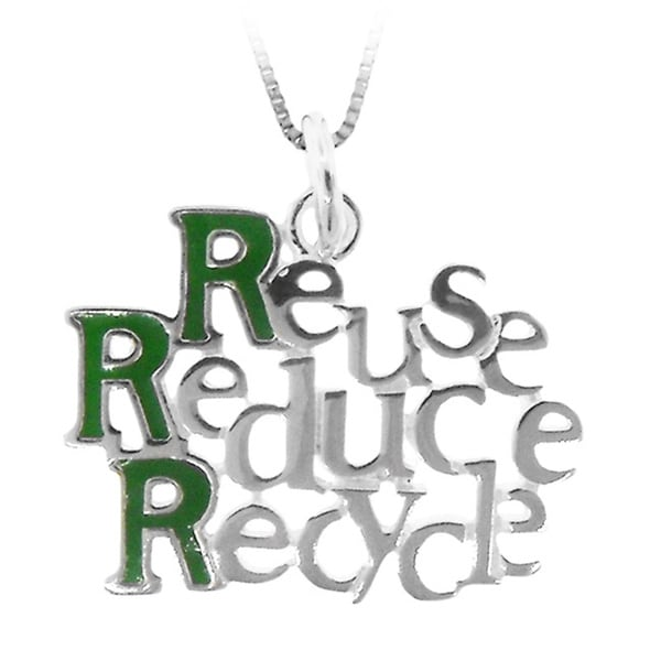 Gioelli Sterling Silver 'Reuse Reduce Recycle' Green Enamel Pendant Necklace