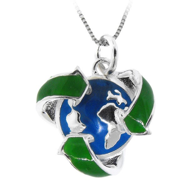 Gioelli Sterling Silver Recycling Symbol Earth Blue Enamel Pendant Necklace
