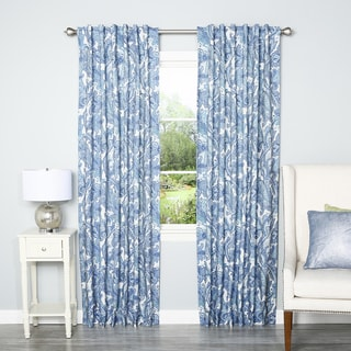 Blue Digital Paisley Rod Pocket 84-inch Curtain Panel Pair