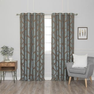 Damask Jacquard Grommet Top 84-inch Curtain Panel Pair