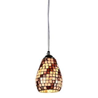 Sea Shell Mosaic and Glass Chrome 1-light Pendant
