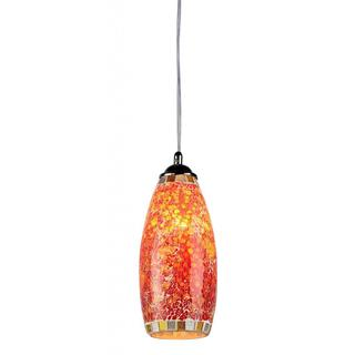 Tempered Glass Mosaic 1-light Chrome Pendant