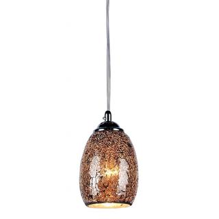 `Mosaic Tempered Glass/ Chrome 1-light Pendant