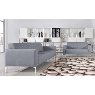 Villa 2-piece Grey Fabric Upholstered Sofa and Loveseat Set