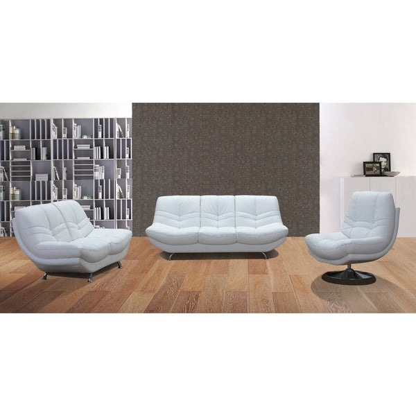 Snowy 3 Piece White Leather Sofa Set Overstock Shopping