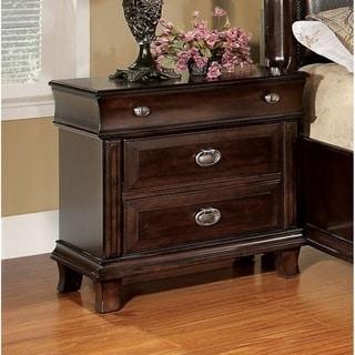 Furniture of America Jayden Crown Brown Cherry 3-Drawer Nightstand