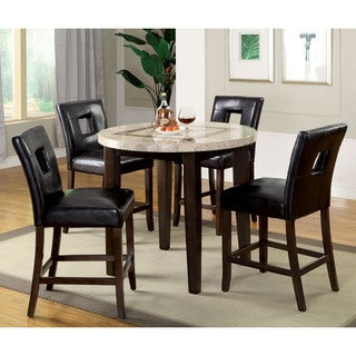 Furniture of America Charisole 5-Piece Round Genuine Marble Counter Height Dining Set
