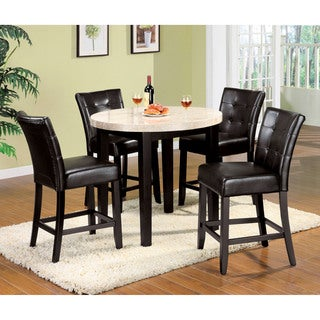 Furniture of America Perican 5-piece Genuine Marble Round Dining Set