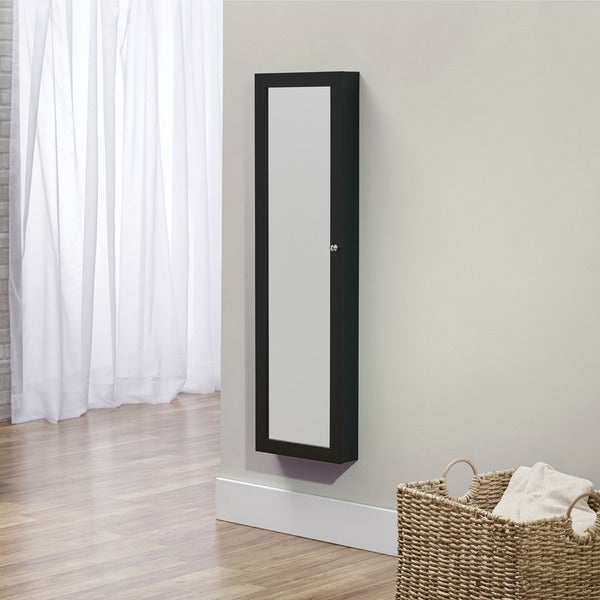 InnerSpace Black Over-the-Door / Wall-Hang / Mirrored Jewelry Armoire