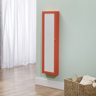 InnerSpace Over-the-Door / Wall-Hang / Mirrored / Coral Jewelry Armoire