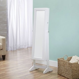 InnerSpace Cheval Free Standing White Jewelry Armoire Collection