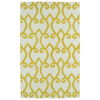 Hollywood Yellow Scroll Flatweave Rug (8'0 x 10'0)