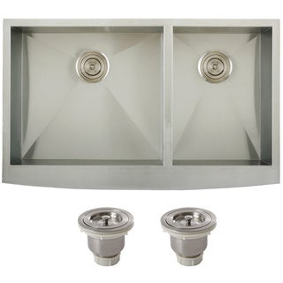 Ticor 4411BG-BASK 36-inch Stainless Steel 16 gaugeCurved Front Undermount Double Bowl Farmhouse Apron Kitchen Sink