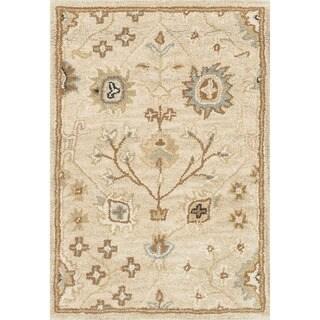 Mason Beige/ Blue Floral Hand-tufted Wool Rug (2' x 3')