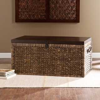 Upton Home Keene Blackwashed w/ Espresso Water Hyacinth Storage Trunk