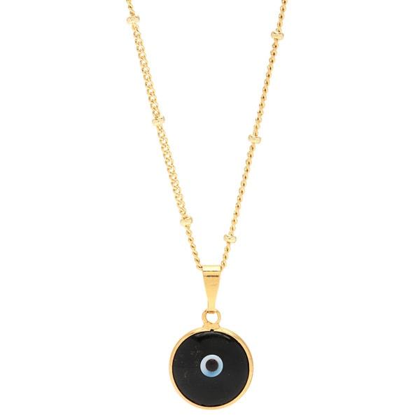 Black Enamel Evil Eye Pendant Gold-filled Chain Necklace