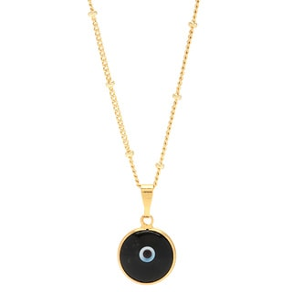 Black Enamel Evil Eye Pendant Gold-filled Chain Necklace