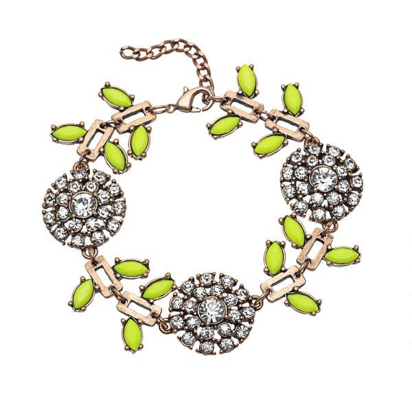 Mint Jules Crystal Flower and Colorful Leaf Adjustable Bracelet 13945727