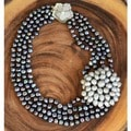 Freshwater Black Pearl with Pearl Brooch Statement Necklace (6-8 mm)