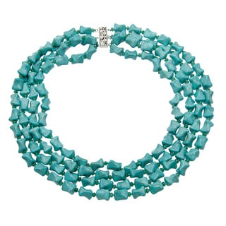 Silver Overlay Genuine Turquoise and Jade 4-strand Necklace