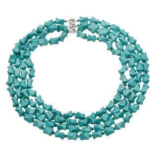 Mint Jules Silver Overlay Turquoise and Jade 4-strand Necklace