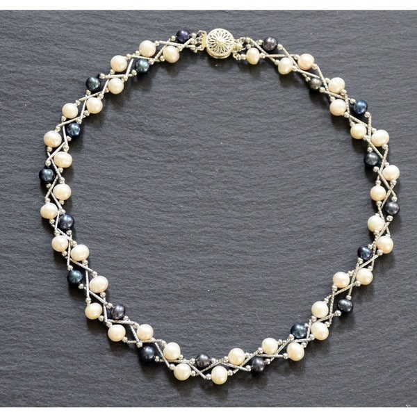 18k Goldplated Freshwater Black and White Pearl Necklace (6.5 mm)