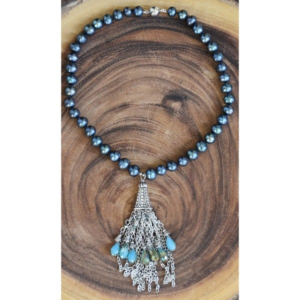 Silverplated Black Freshwater Pearl Tassel Necklace