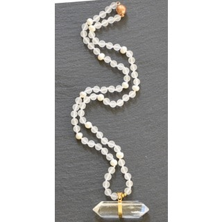 Gold Overlay Quartz Crystal and Freshwater Pearl Pendant Necklace (6-7 mm)