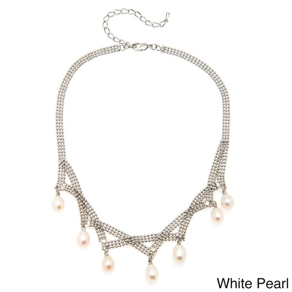 18k White Goldplated Freshwater Pearl Drop Necklace