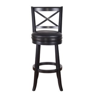 Adeco Black Wood Bar-Style Cross Back Chair, Swivel Base, Leatherette Cushion