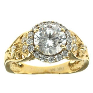 Michael Valitutti 14k Yellow Gold One-of-a-Kind Round-cut Cubic Zirconia Ring